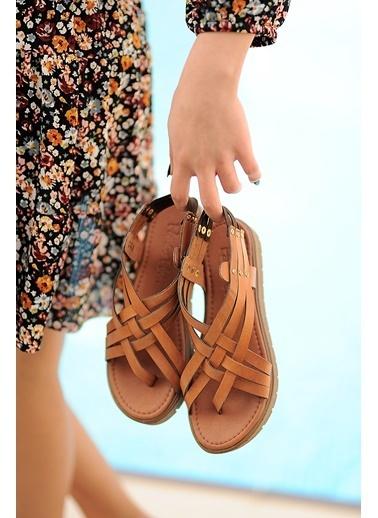 Pembe Potin A305-20 Kadın sandalet Taba